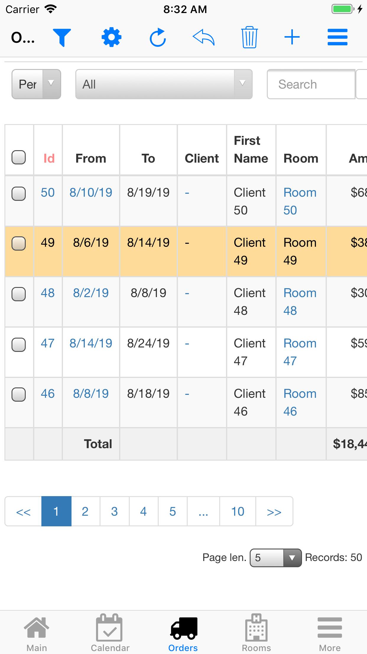 Nano Hotel Booking. Order list